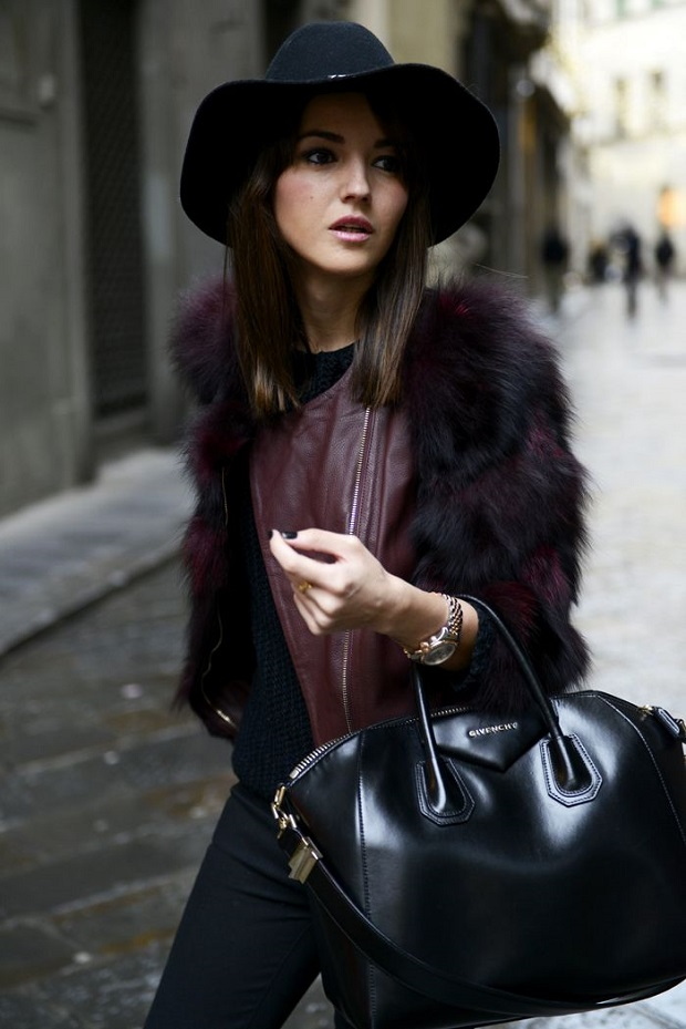 Burgundy Fur and Leather jacket and Givenchy bag
