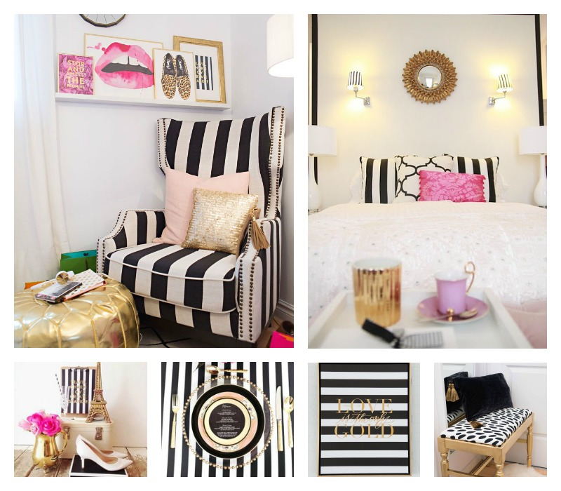 Bedroom New Design Bedroom Decor Cottage Paris Bedroom Black And White Small One Bedroom Apartment: {Home} Black & White & Gold