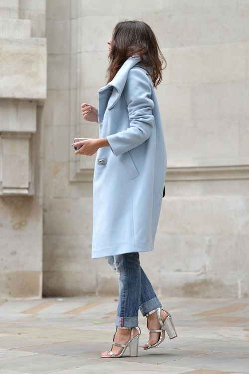 Baby blue boyish coat