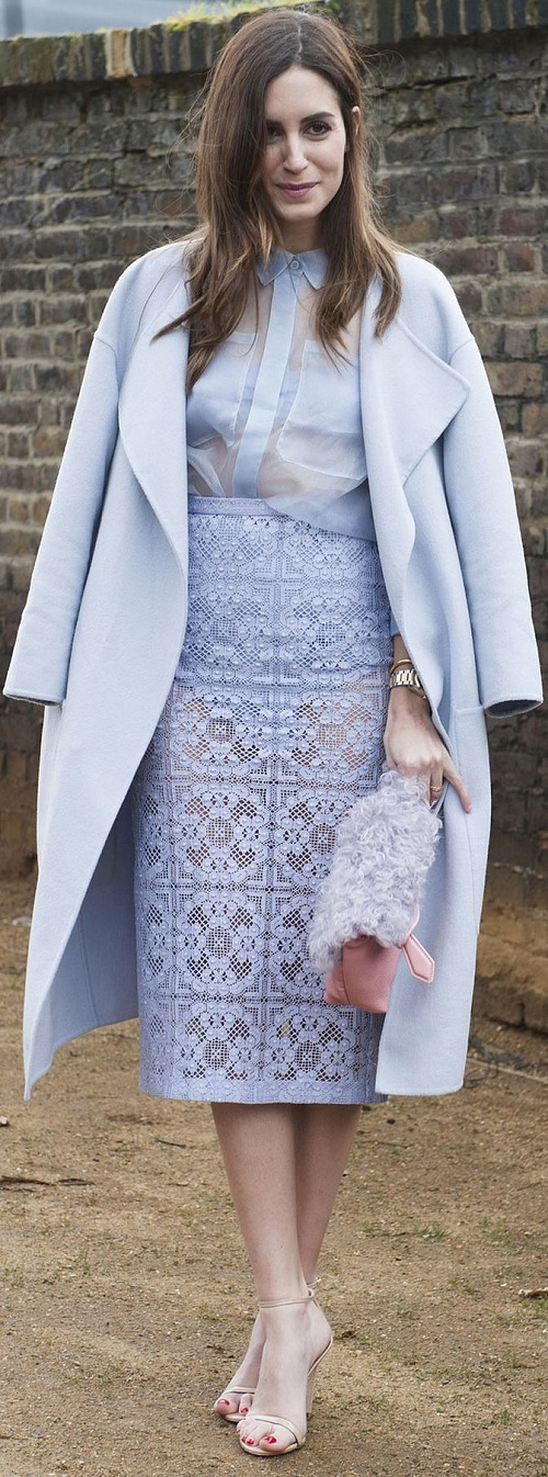 Baby blue coat and lace pencil skirt