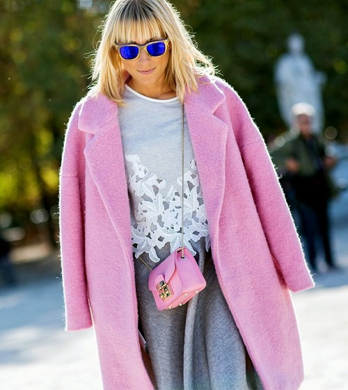 Baby pink coat and pink bag