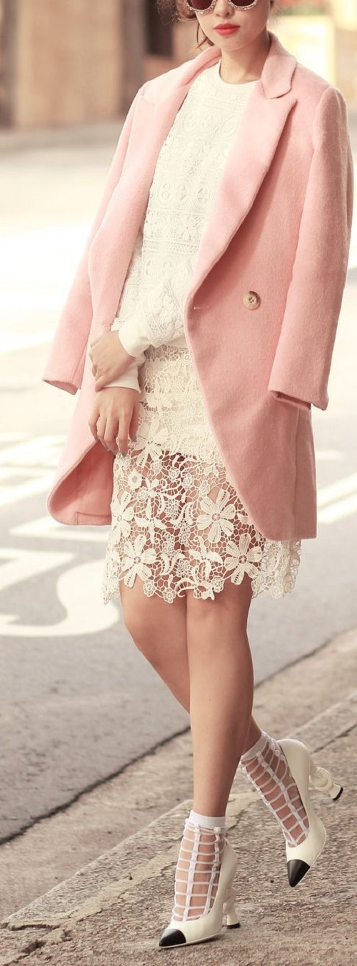 Blush Pink coat and white lace skirt