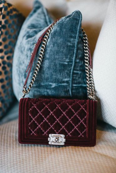 Burgundy Velvet Chanel Boy
