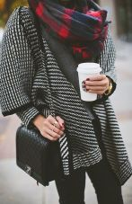 Chanel Boy in Black - Large plaid and Sweater