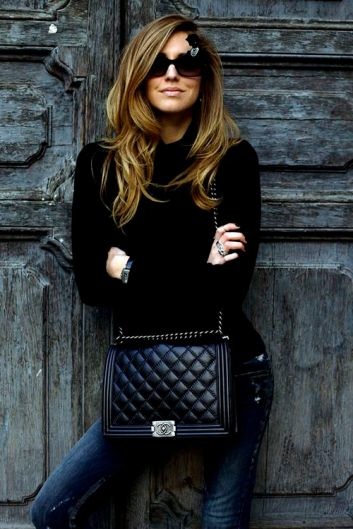 Chiara Ferragni of the Blond Salad looking gorgeous in a simple ensemble and her Chanel Boy