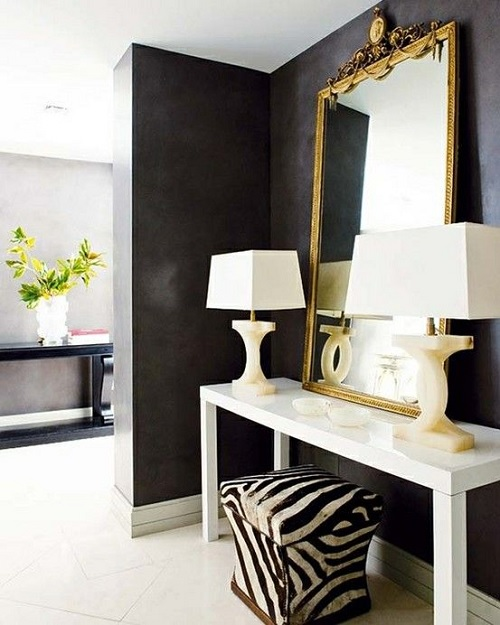 Gold Mirror and zebra stool