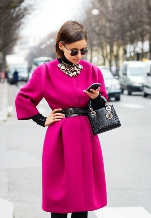 Hot pink coat Mira Duma