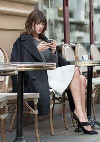 Jeanne Damas at a Parisian Café