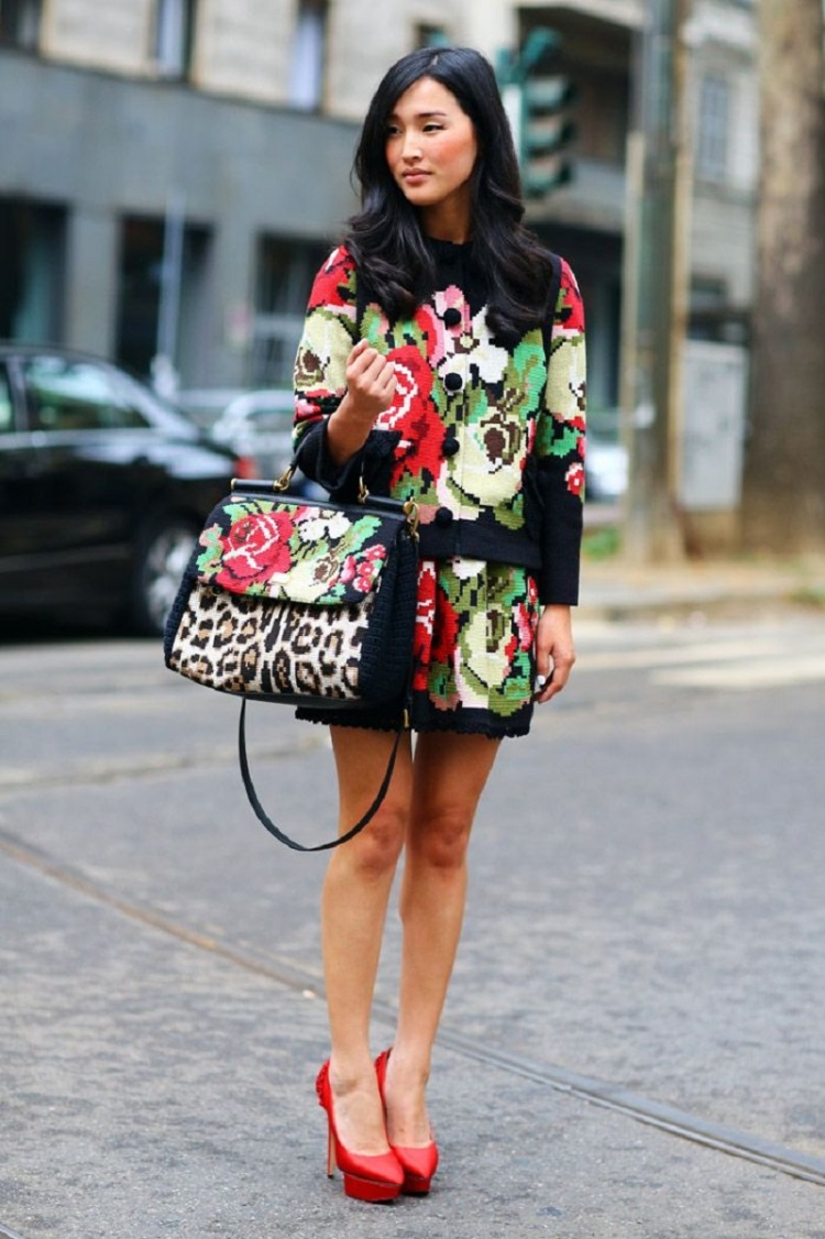 Nicole Warne in head to toe Dolce and Gabbana