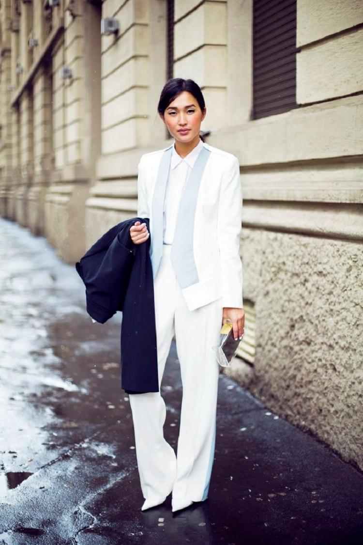 Nicole Warne white suit