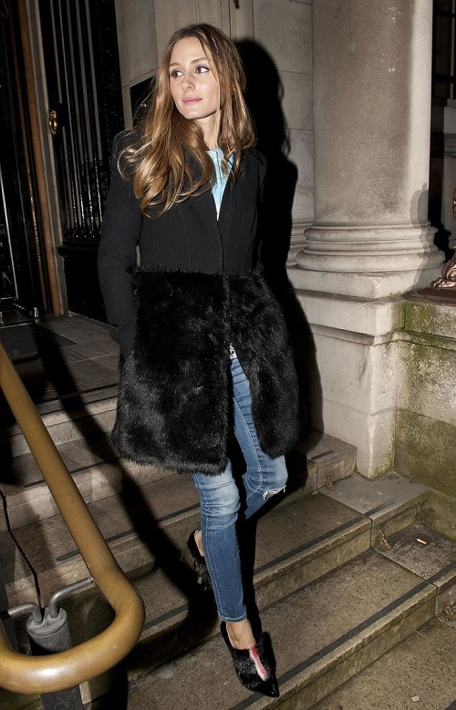 Olivia Palermo Fur Bottom Coat