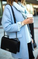 Powder Blue Wool Cocoon Coat - Black Distressed Jeans - Chanel Boy Bag