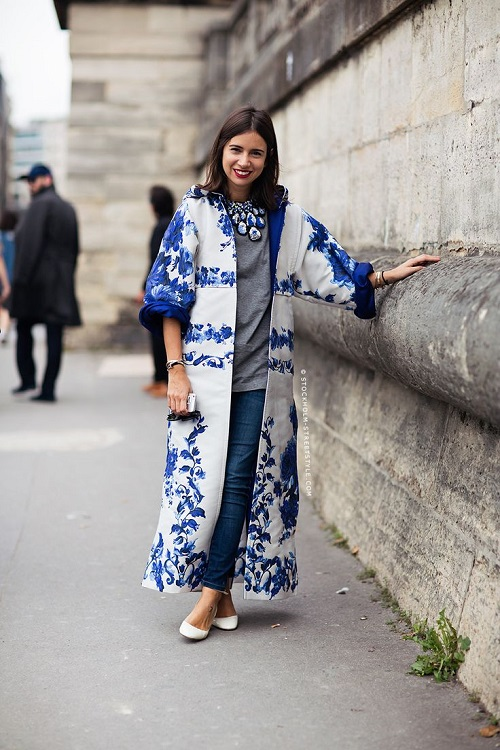 Printed blue and white coat