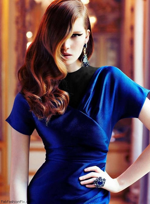 Red hair metallic blue dress ang eyeliner