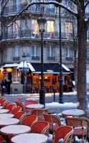 Snowy Parisian terrace