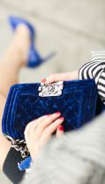 Velvet Blue Chanel Boy bag - Perfection!