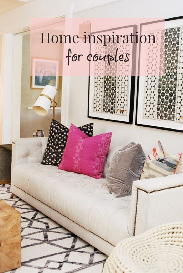 White couch hot pink pillow home inspiration