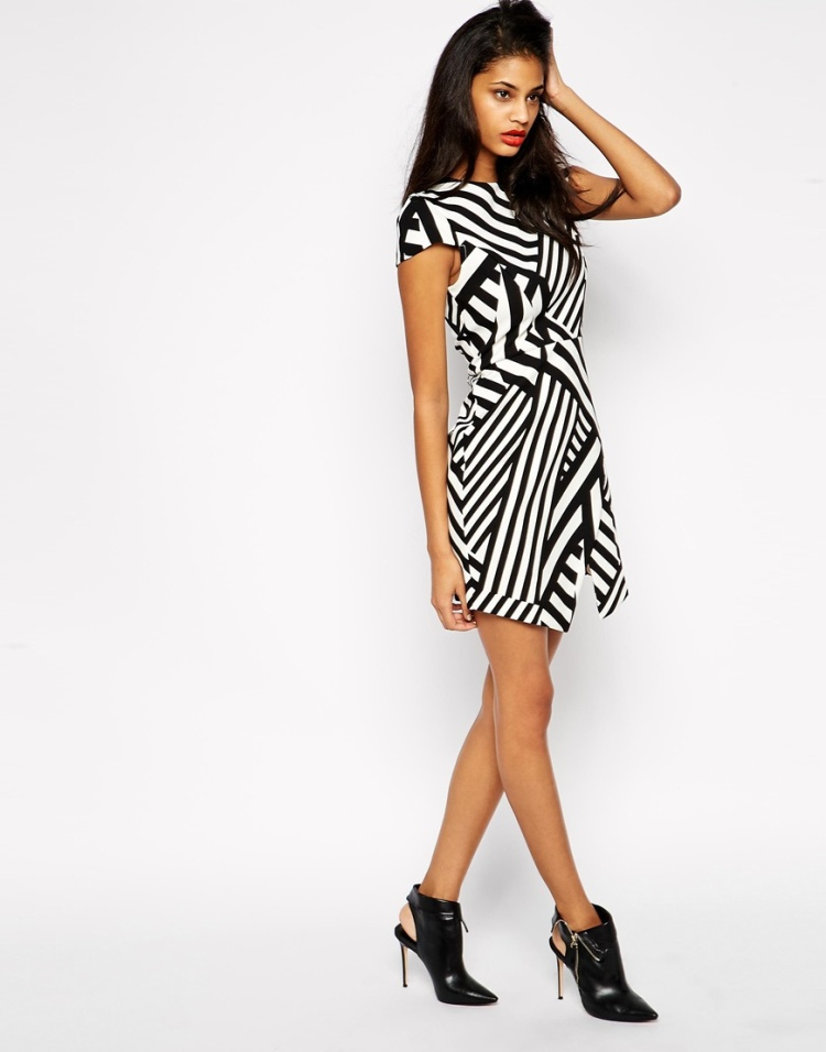 Asos Asymetric dress with geometric prints