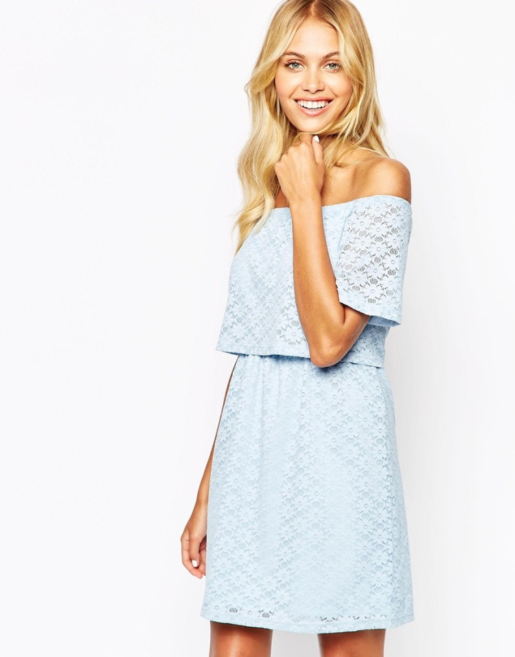 Asos Baby Blue off shoulder dress