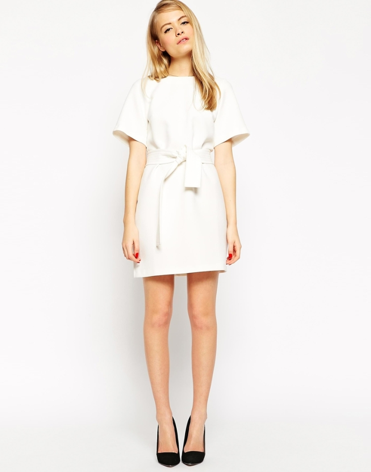 Asos Belted White Dress