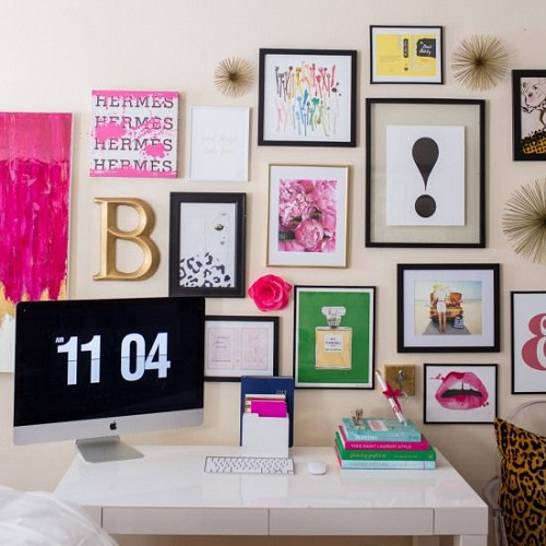 Desk with art on the wall