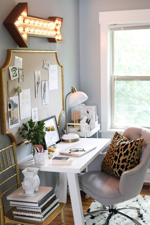 Desk with gold and leopard details