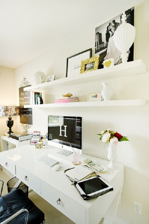 White Desk and Shelves