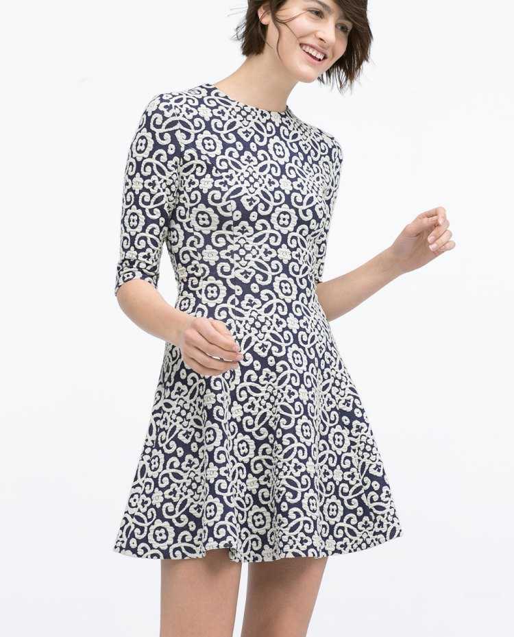 Zara blue and white printed dress