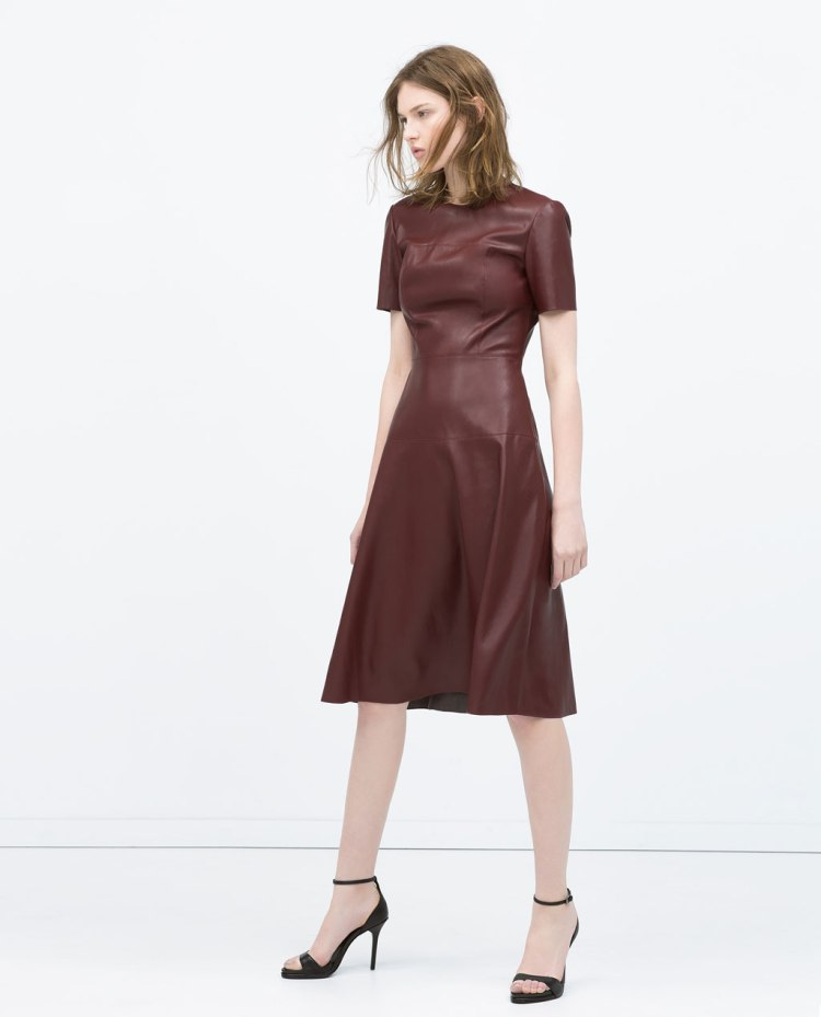 Zara Burgundy leather dress